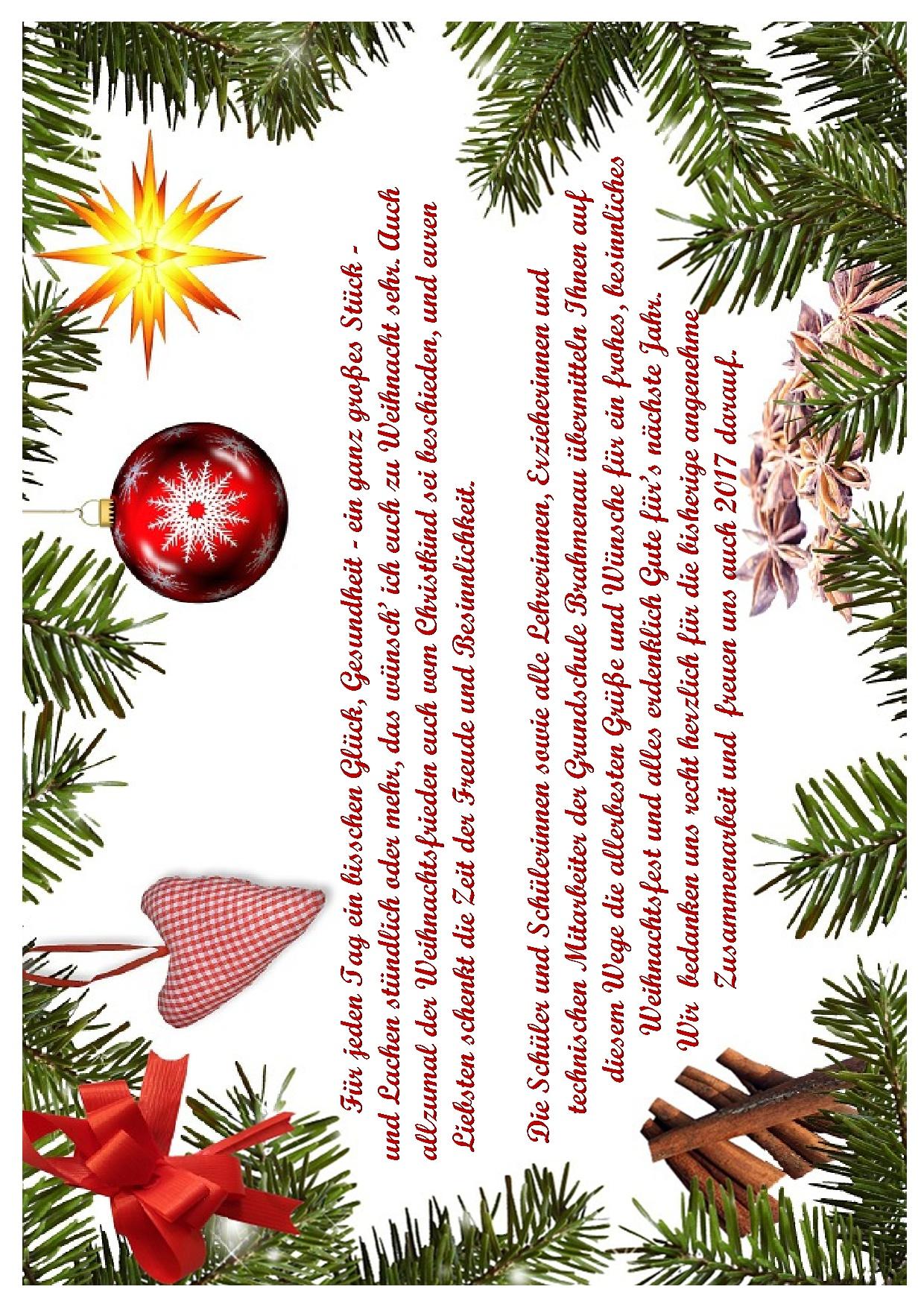Weihnachtsgrüße An Erzieherinnen.Weihnachtsgrüße 2016 Hompage Grundschule Brahmenau