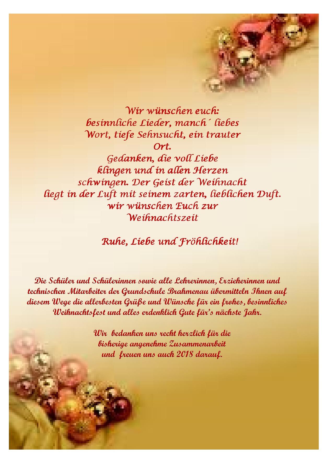 Weihnachtsgrüße An Erzieherinnen.Weihnachtsgrüße 2017 Hompage Grundschule Brahmenau